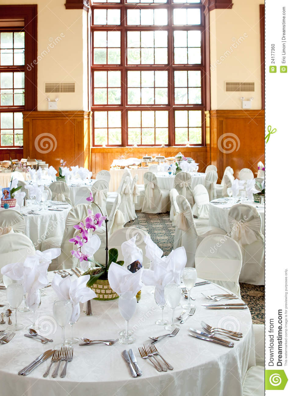 Wedding Tables With And Orchid Centerpiece Stock Photo - Image of ...