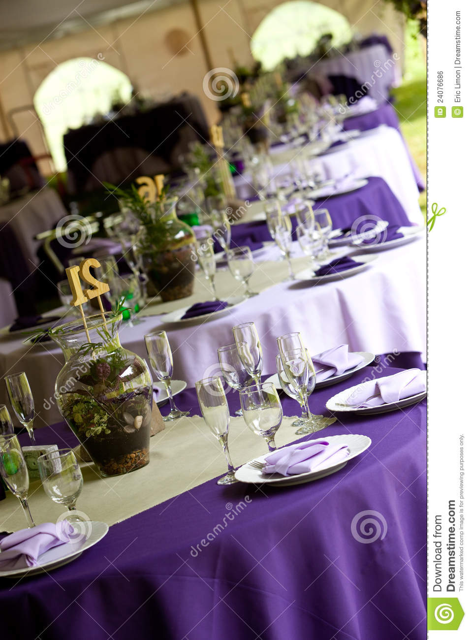 Wedding Tables In Purple And Green Stock Photo Image Of Event