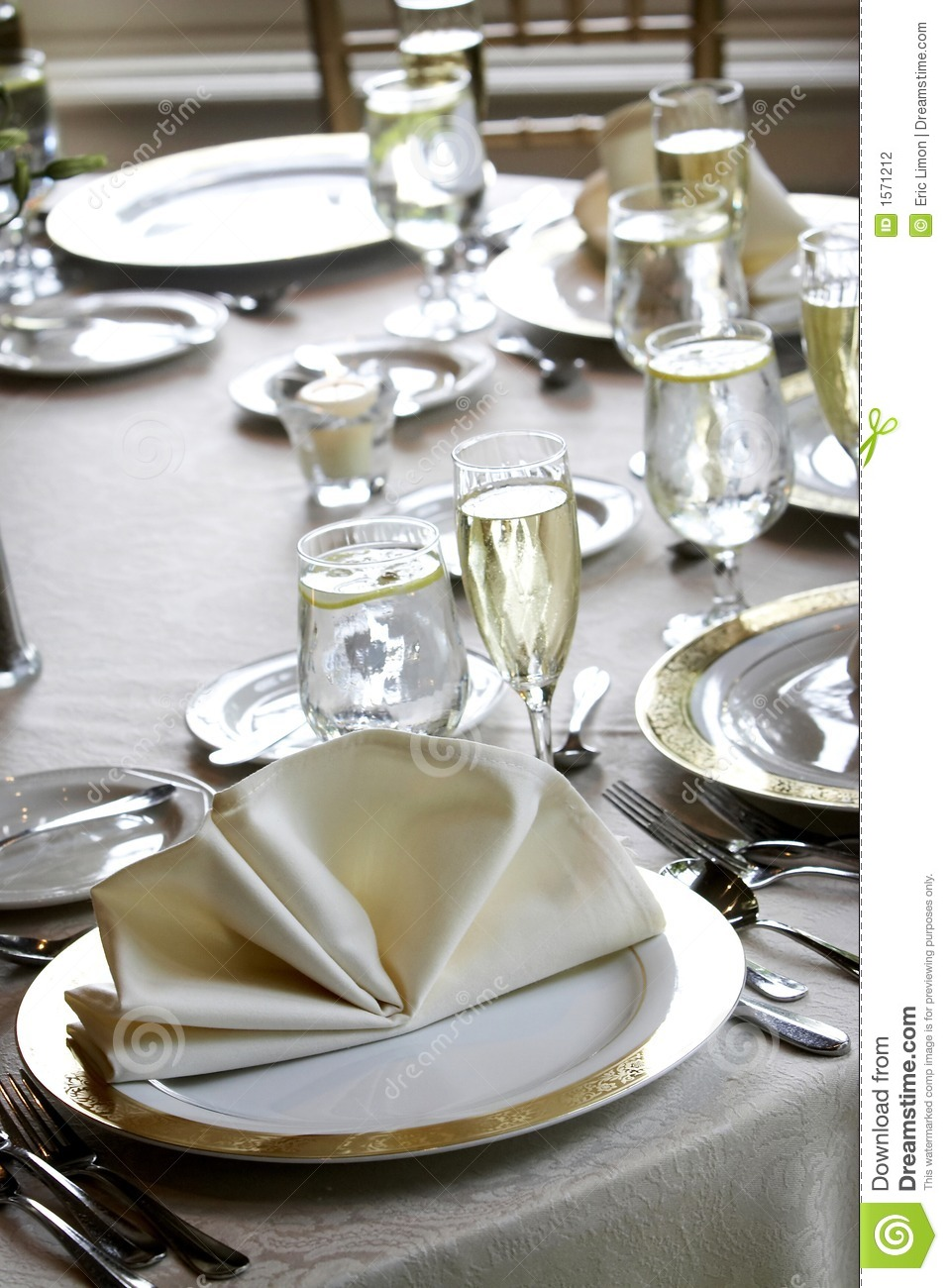 Wedding tables set for fine dining stock photography for Fine dining table setting