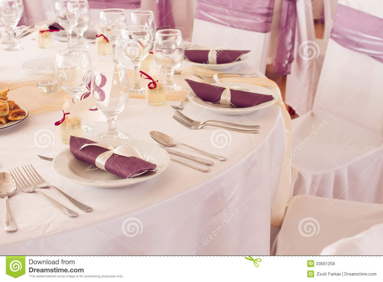 Wedding Tables Set For Fine Dining Or Another Catered Event Royalty Free Stoc