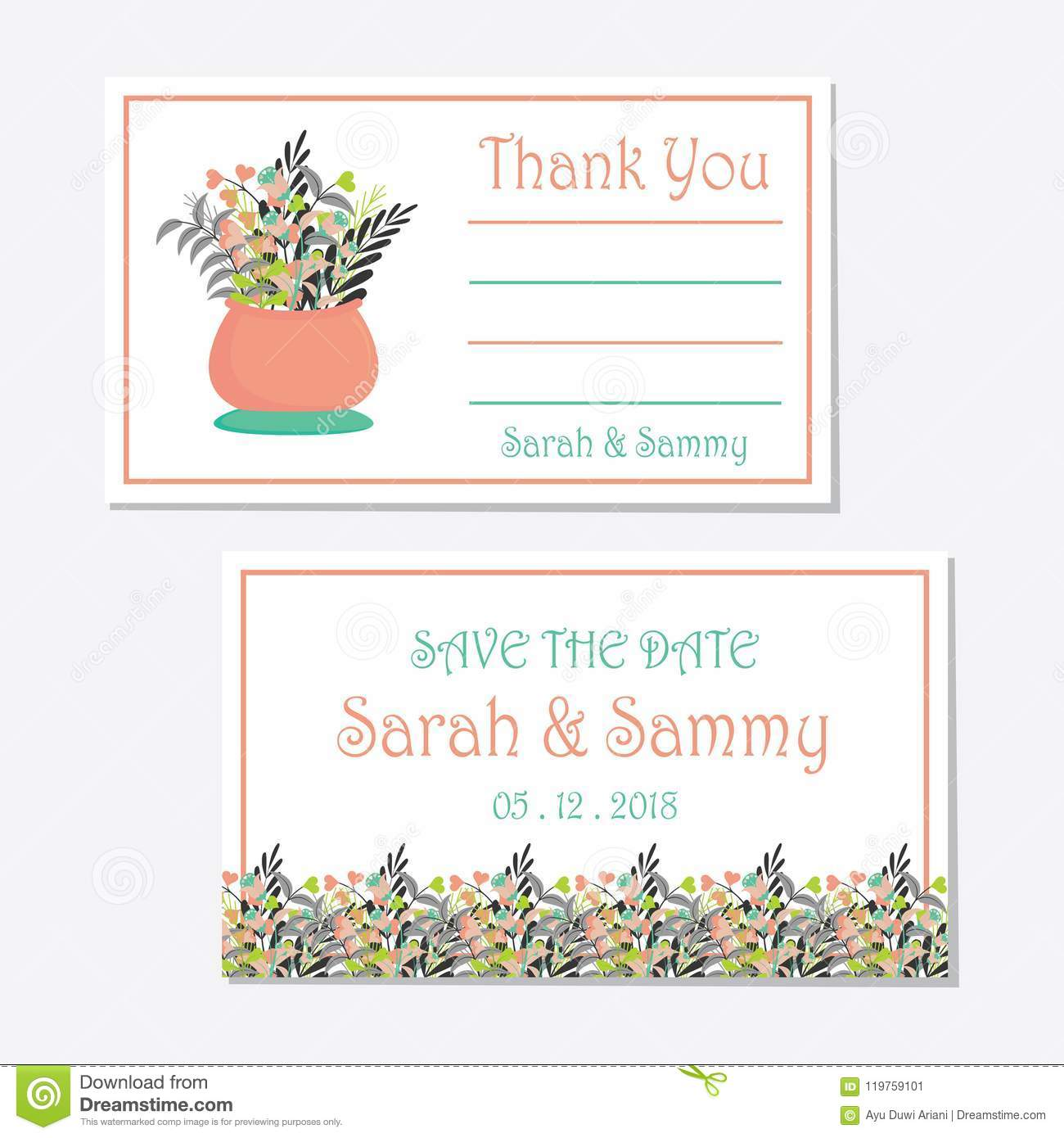 wedding tag set design template with a vase of flowers stock