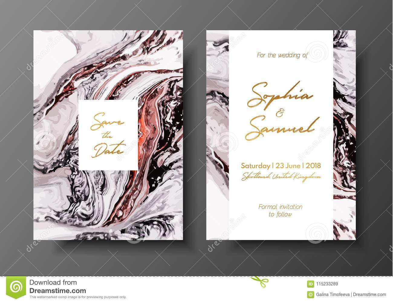 Wedding Template With Liquid Marble Texture For Wedding
