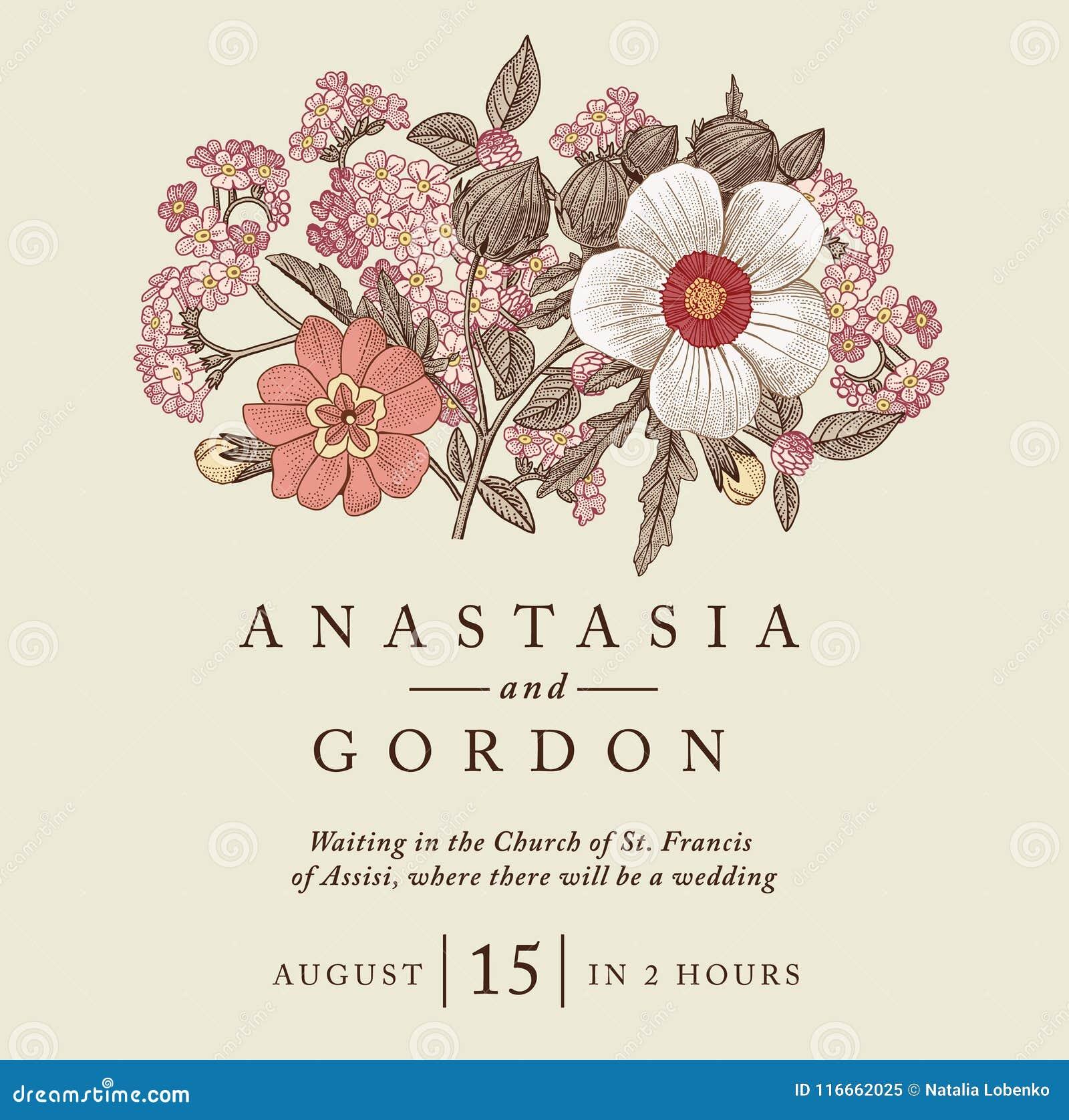 Wedding Thanks Invitation Beautiful Realistic Flowers Heliotrope