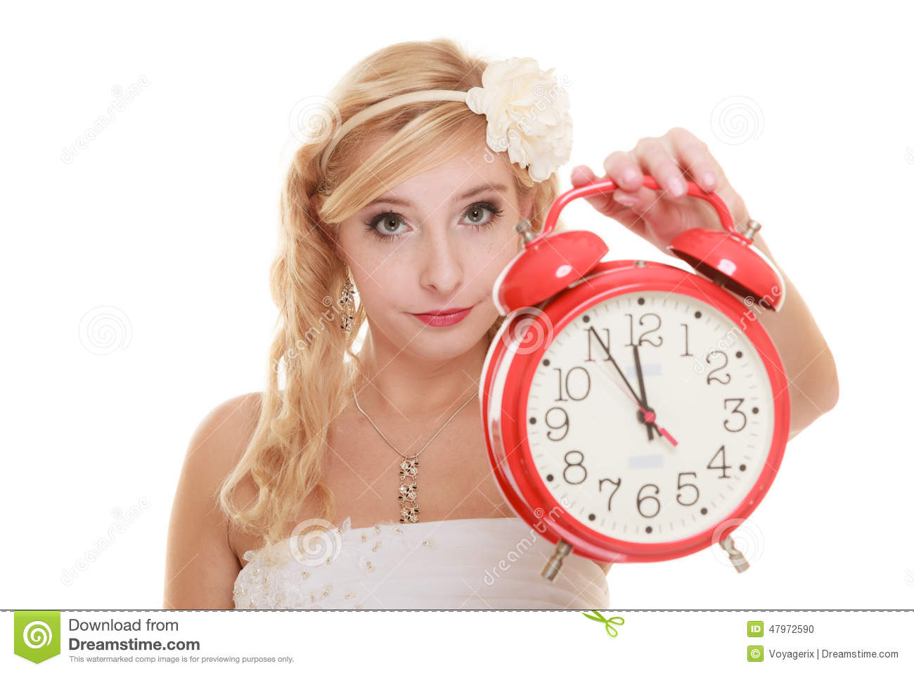 Wedding. Time To Get Married. Bride With Alarm Clock