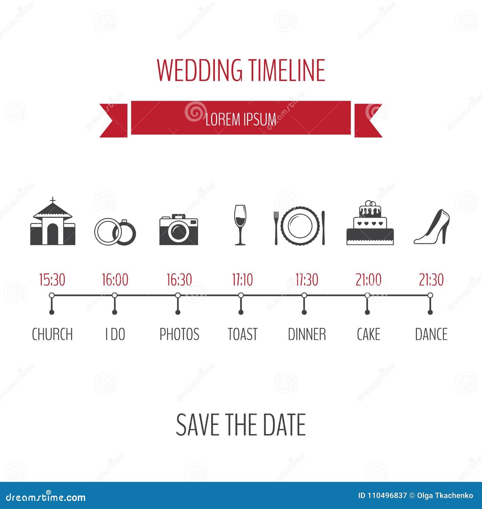 Wedding Invitation Timeline: Wedding Timeline Infographic. Vector Illustration, Flat
