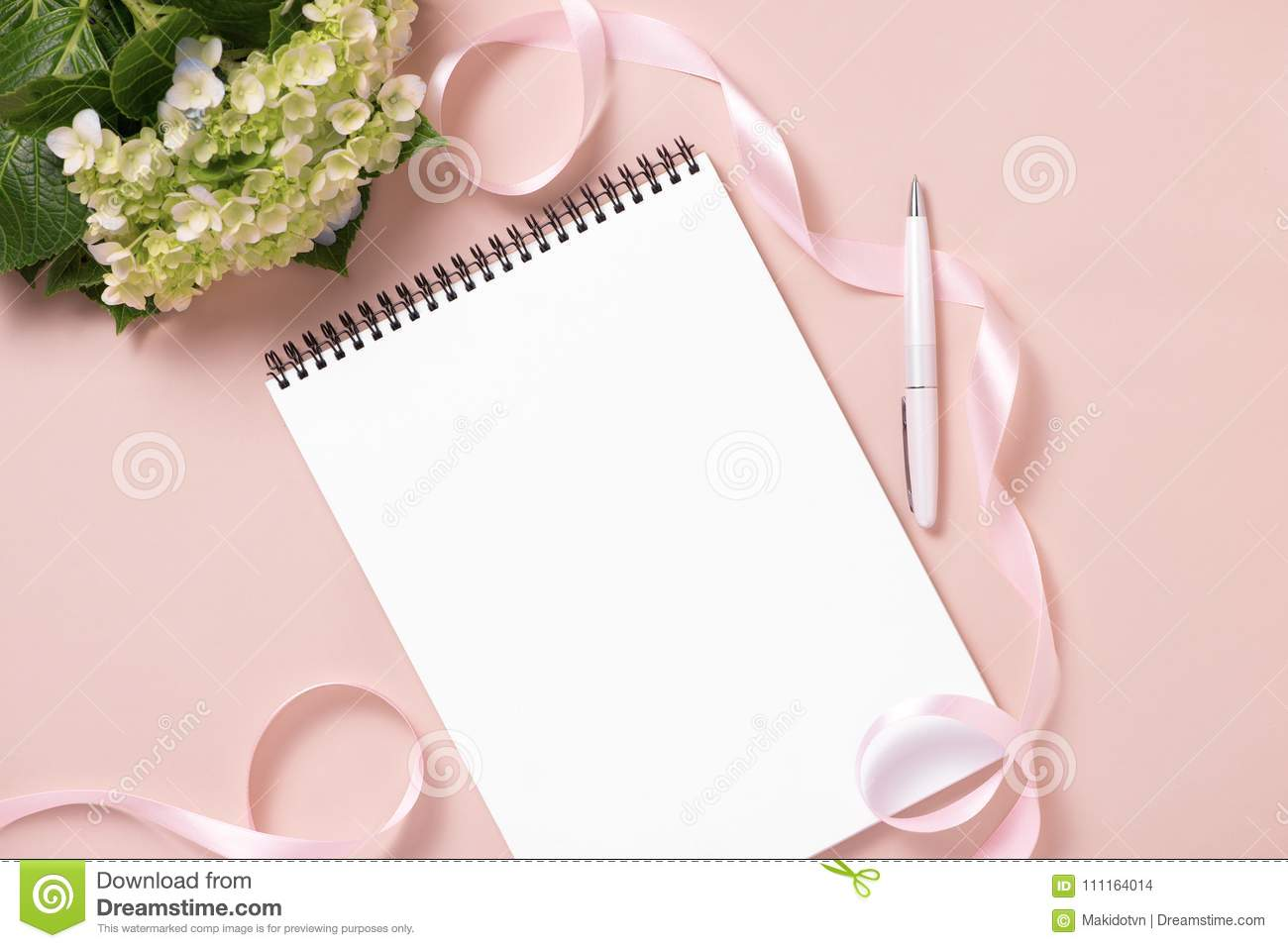 wedding to do list with flowers mockup planner flat lay stock