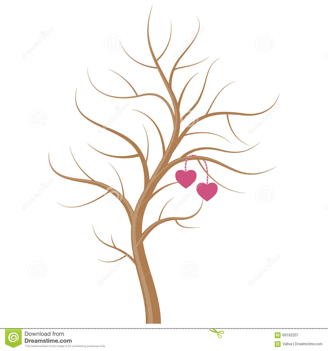 Wedding Tree With Hearts On The Branches. Stock Vector ...