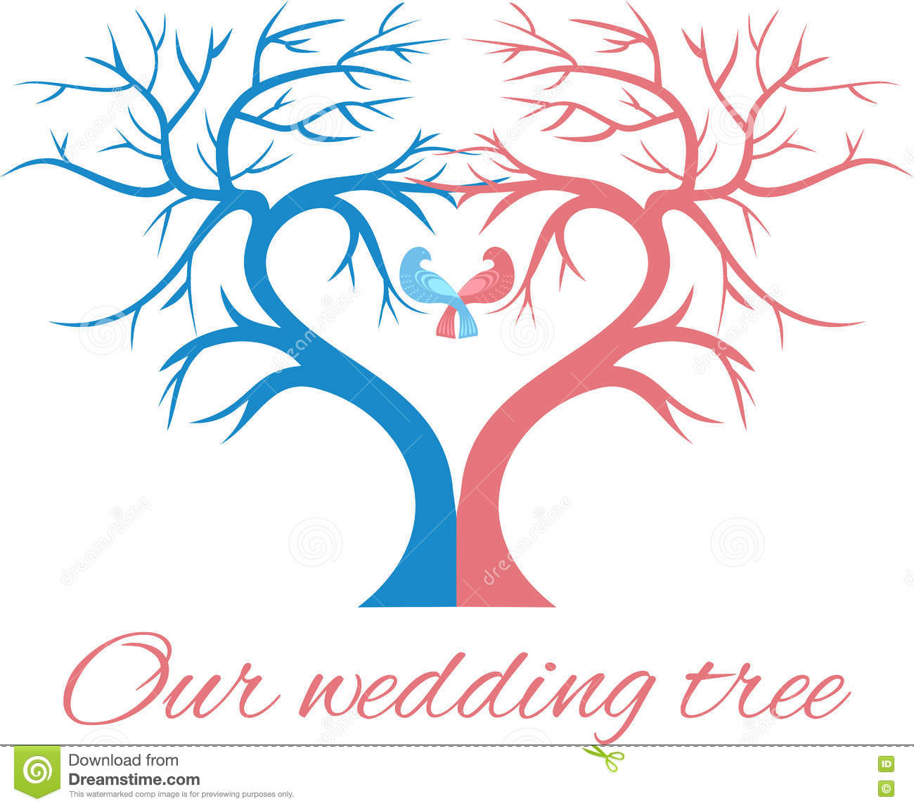Wedding Tree Vector: The Wedding Tree In The Shape A Heart With Two Birds Stock