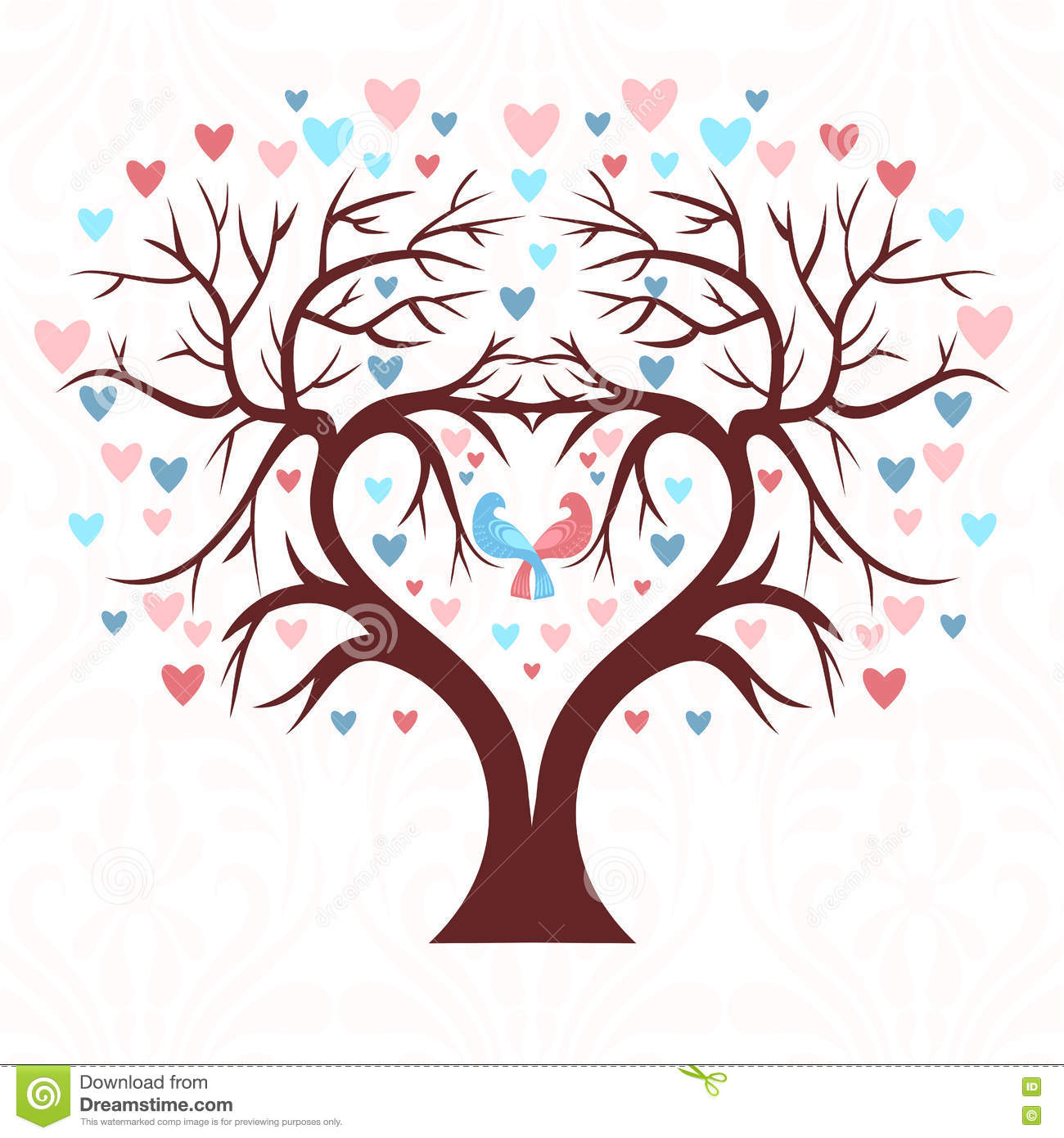 Wedding Tree Watercolor Clipart: The Wedding Tree In The Shape Of A Heart With Two Birds