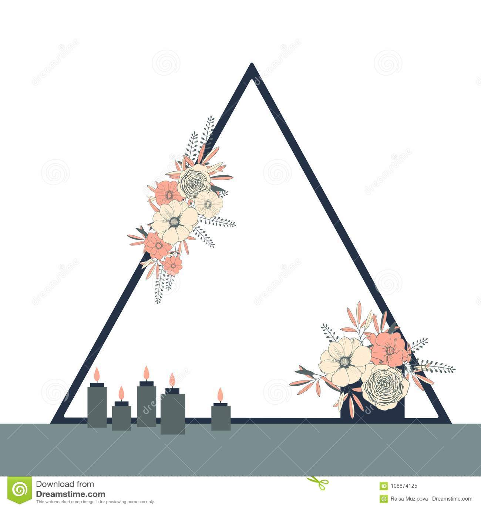 Triangle Wedding Arch: Garden Arch Flowers Stock Illustrations