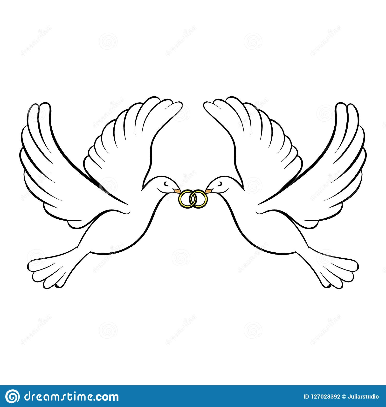 wedding two doves icon cartoon stock illustration