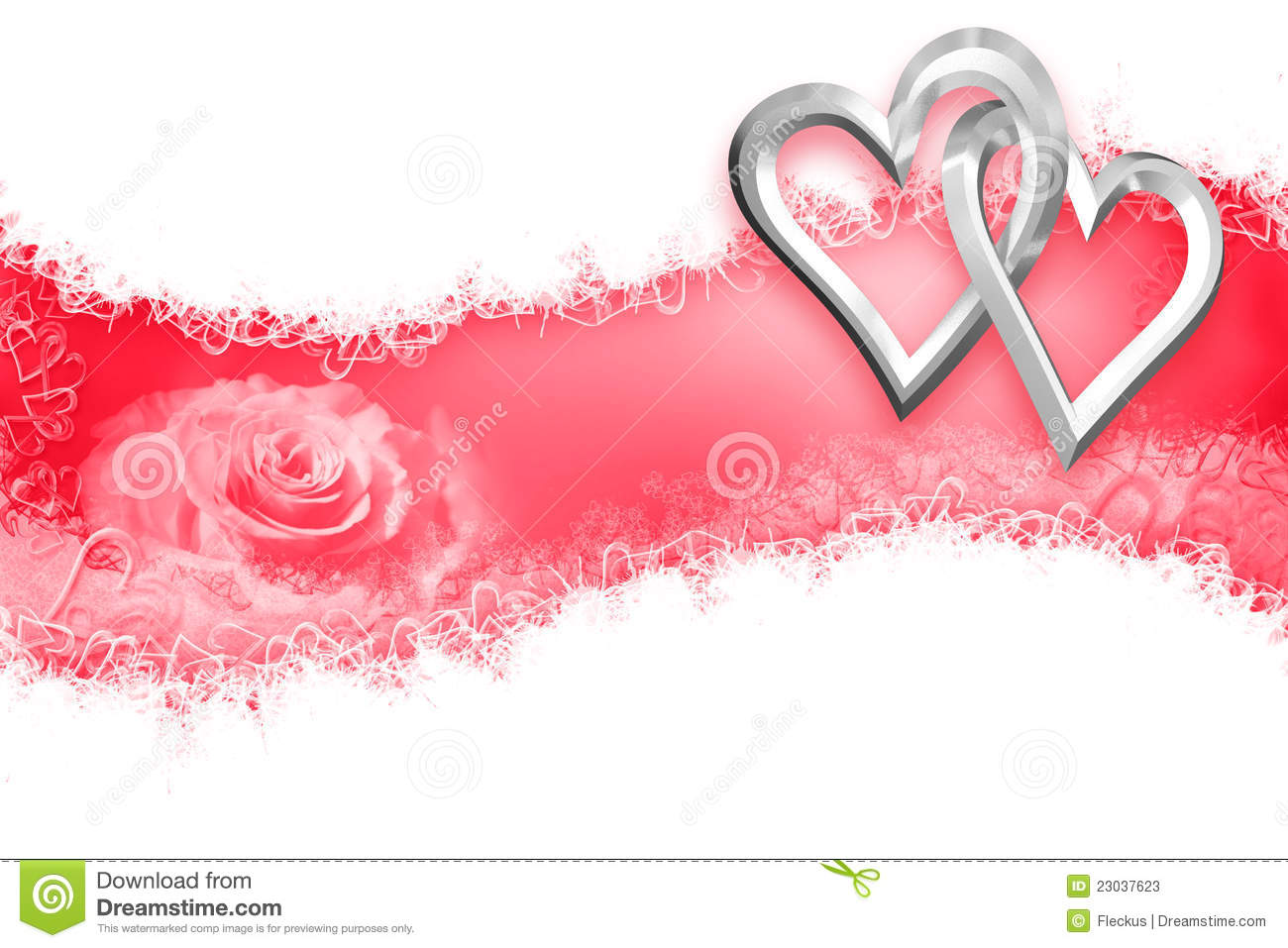 wedding two silver hearts stock illustration