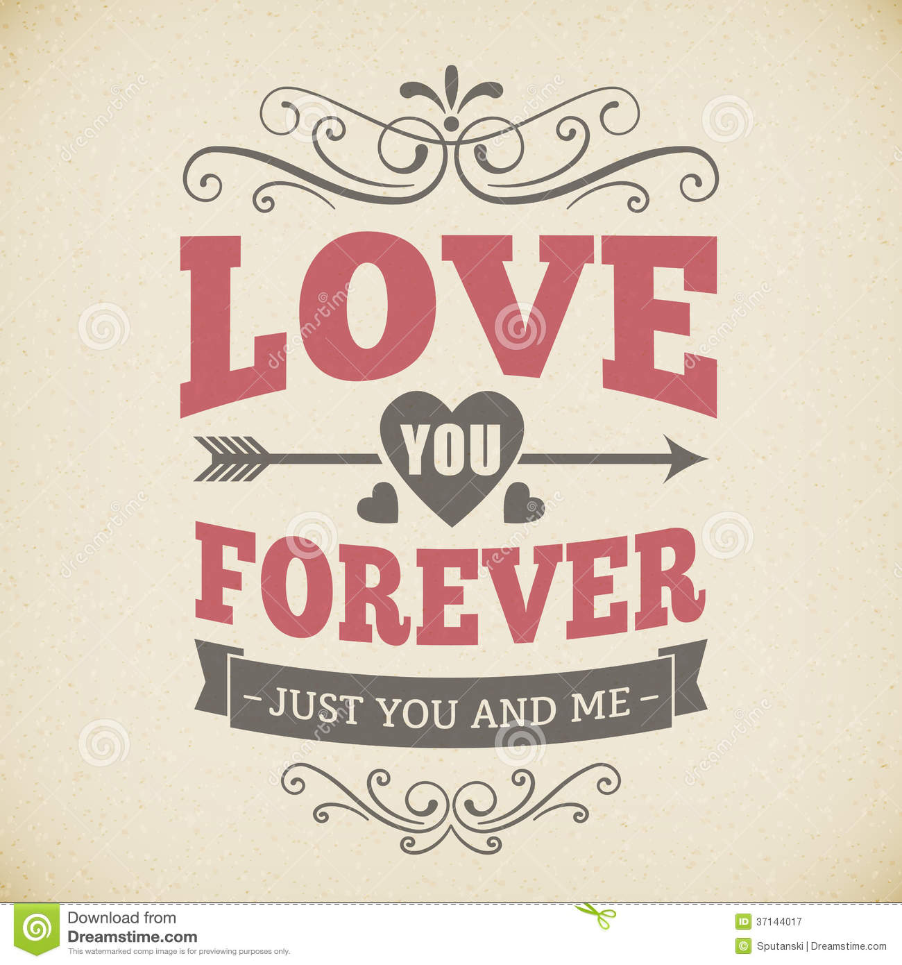 Wedding Typography Love You Forever Vintage Card