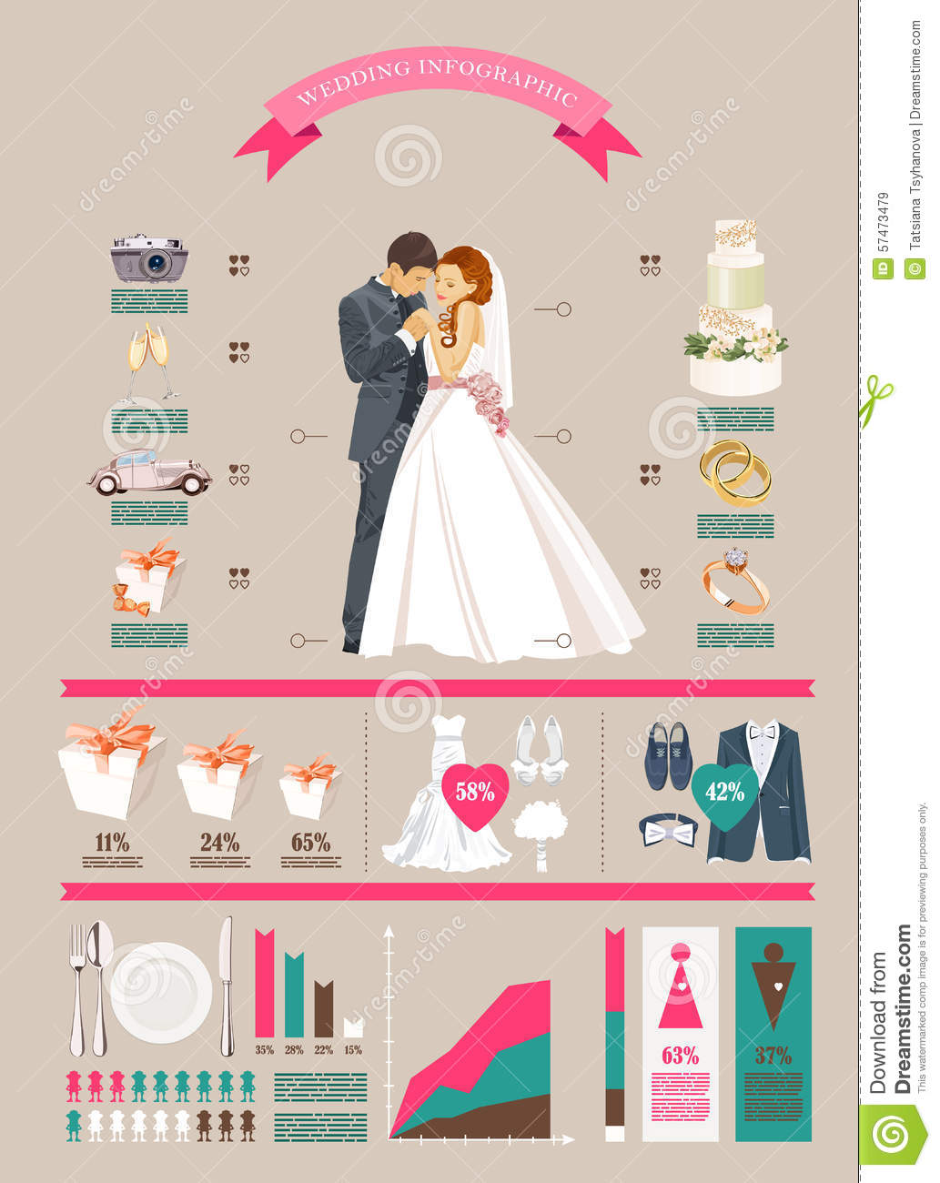 wedding vector infographics set bride and groom with wedding icons