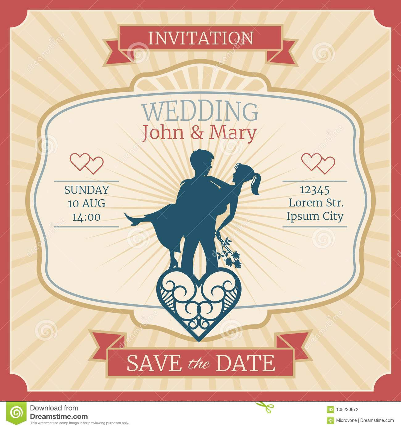 Wedding vector invitation card with just married bride and groom wedding vector invitation card with just married bride and groom silhouettes illustration of invitation wedding card stopboris Choice Image