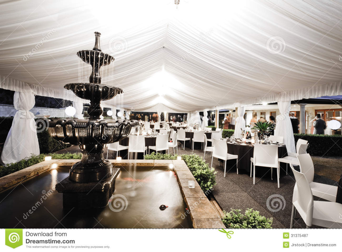 Wedding venue interior with fountain royalty free stock for Wedding interior decoration images