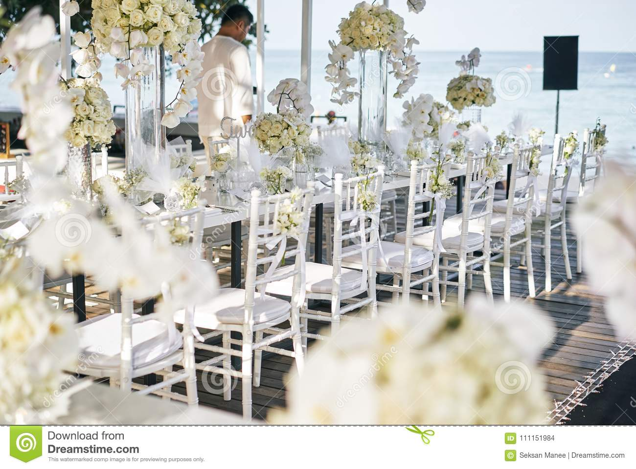 The Wedding Venue For Reception Dinner Table Decorated With White