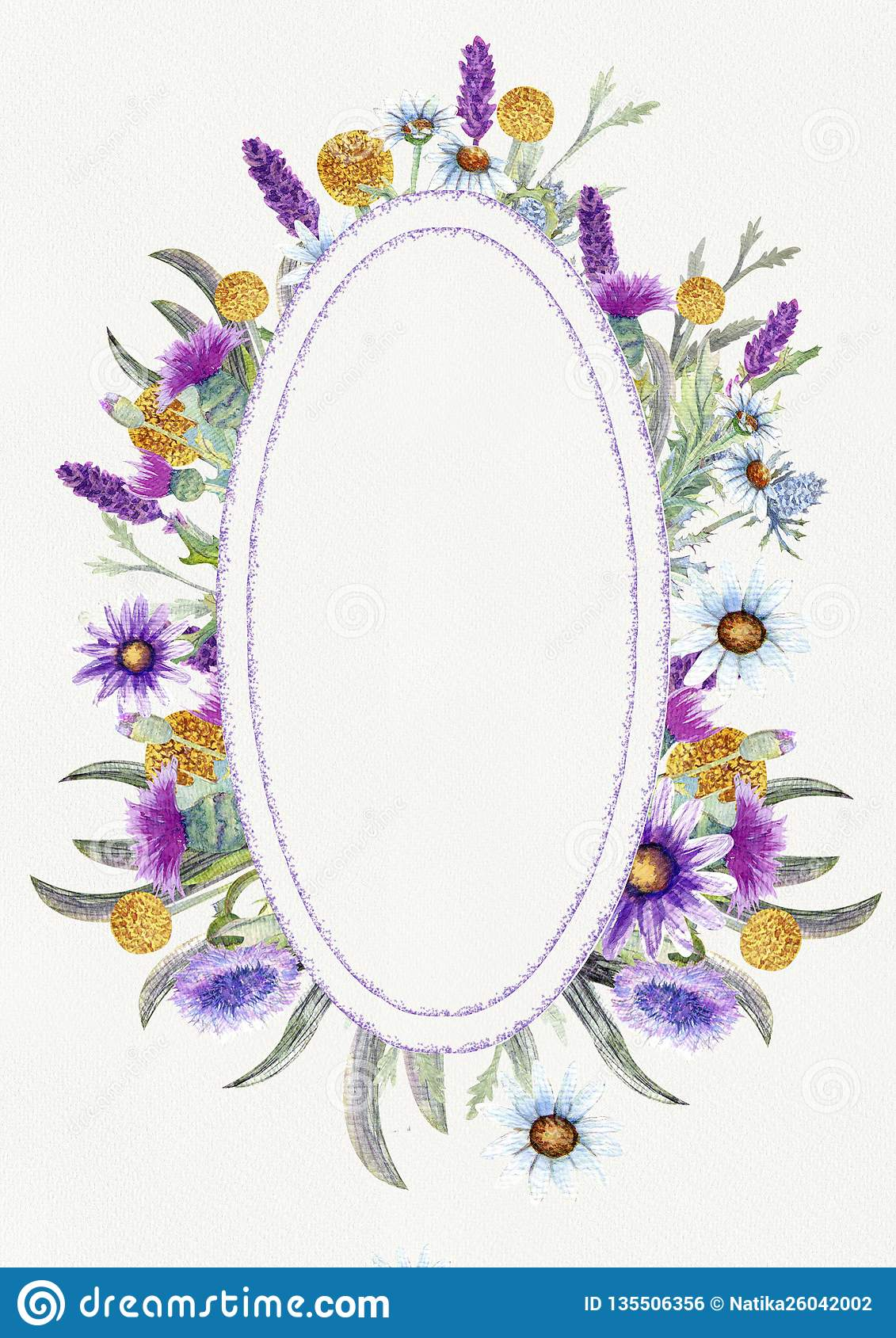Wedding vertical frame of wild flowers. Watercolor. Flower arrangement. Greeting card template design. Invitation