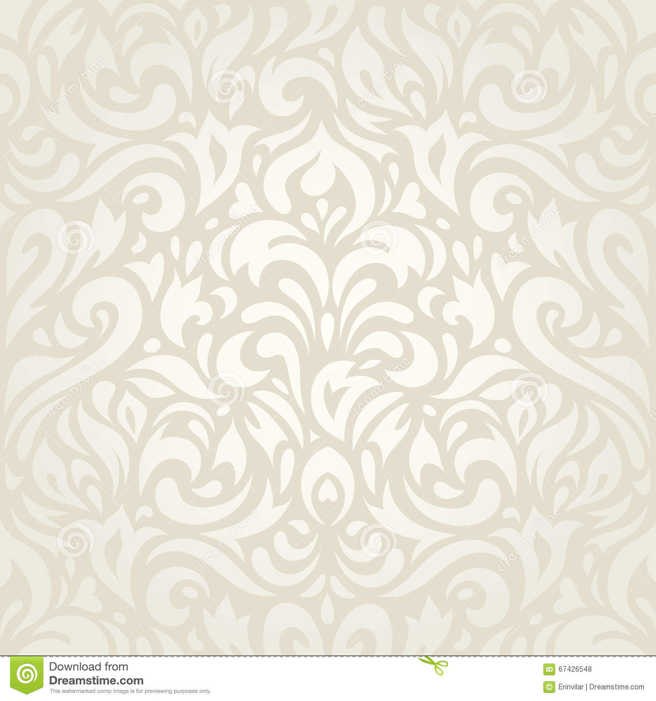 Wedding Vintage Floral Ecru Wallpaper Background Design Stock
