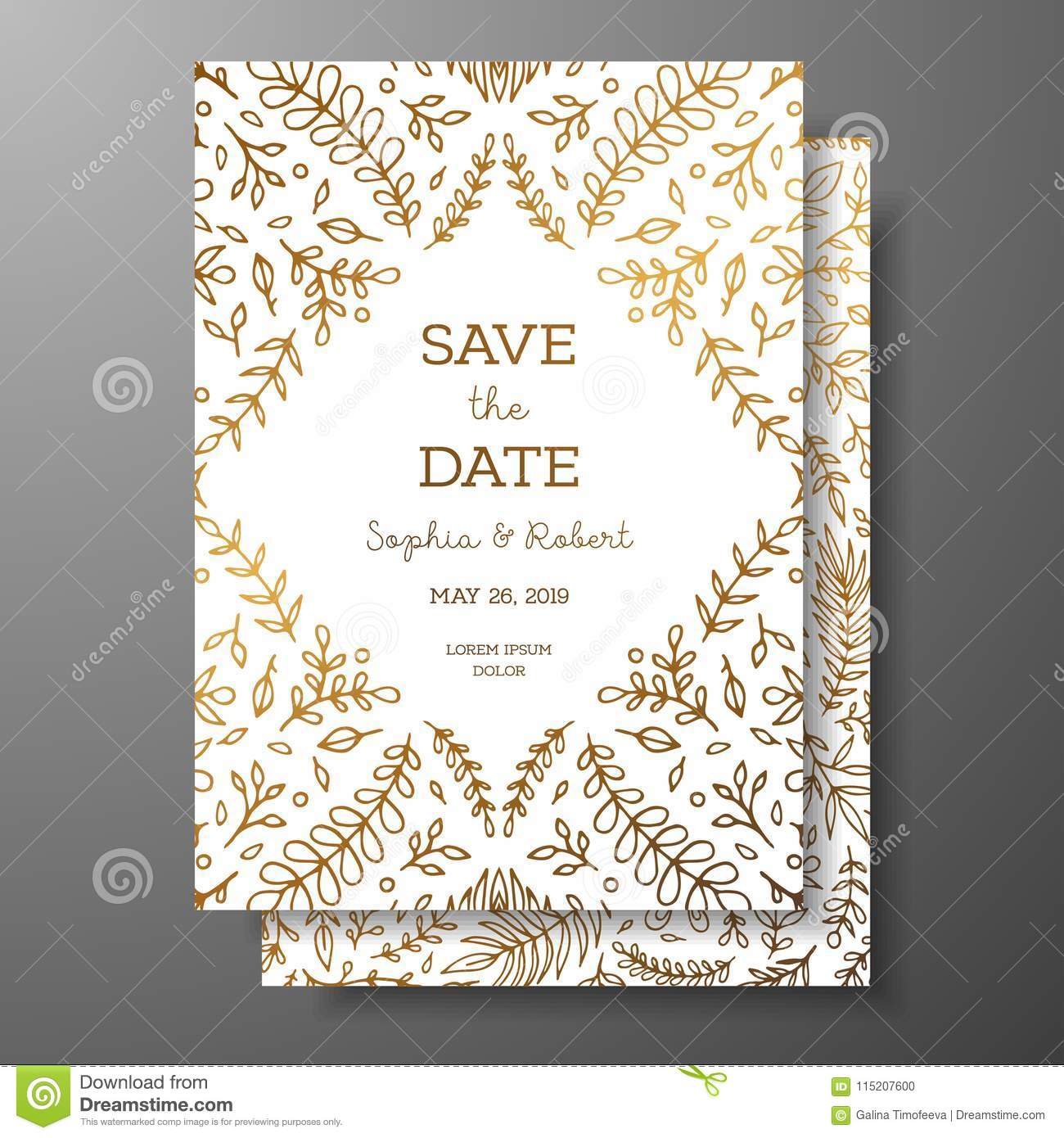 wedding vintage invitation save the date card with golden twigs and