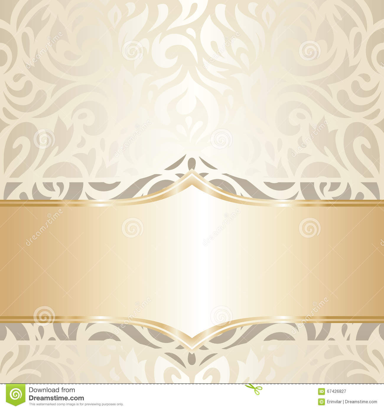 Wedding Vintage Wallpaper Design White Amp Gold Vector Stock