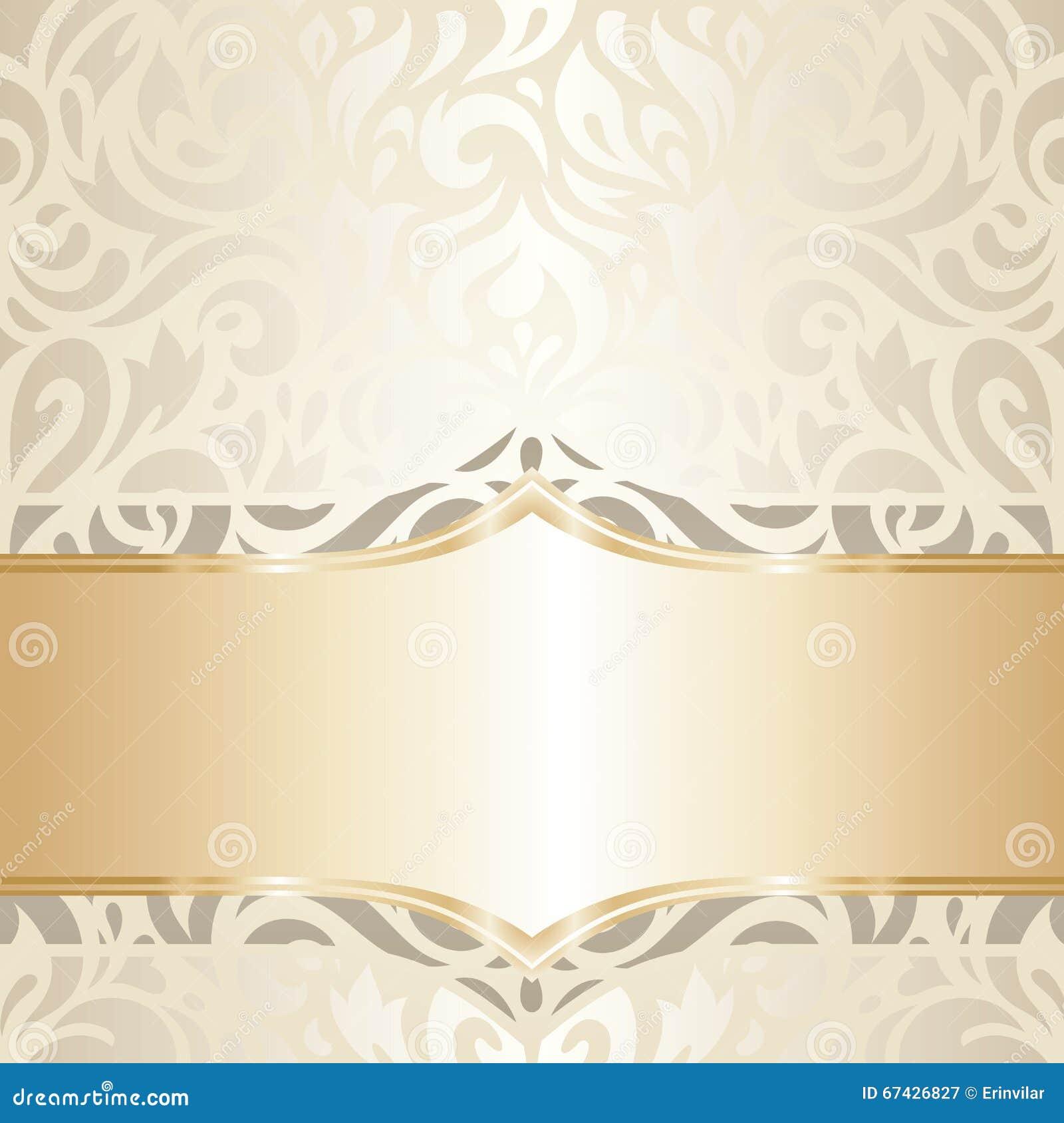 Wedding Vintage Wallpaper Design White & Gold Vector Stock ...