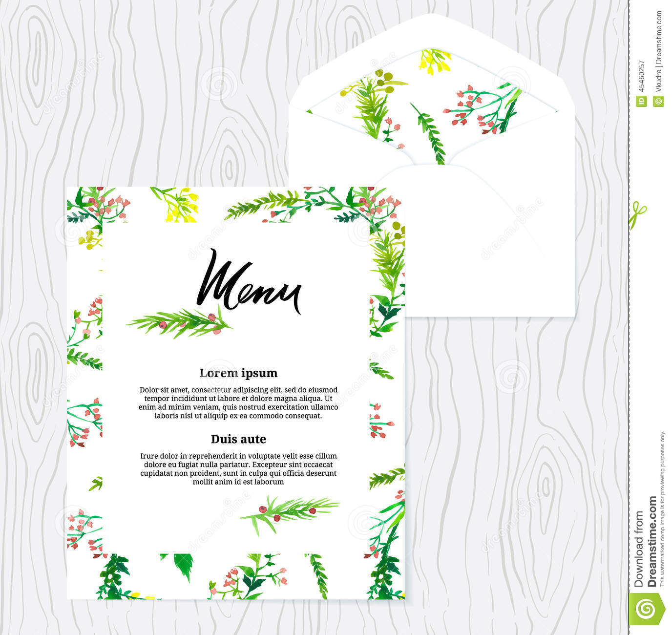 Wedding Watercolor Menu Template Floral Pattern Stock Vector