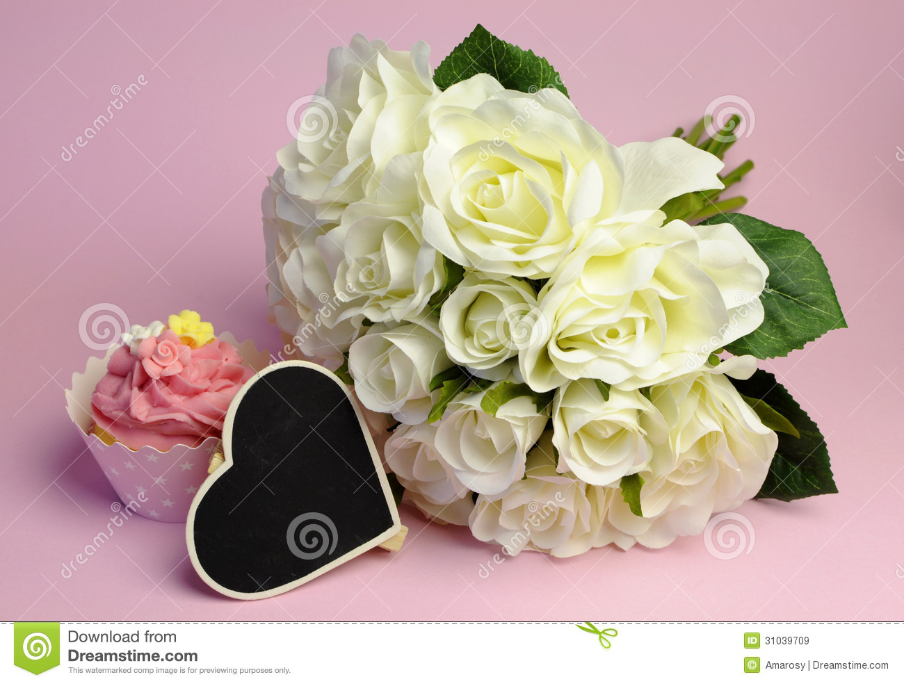 Wedding White Roses Bouquet With Pink Cupcake And Blank Heart Sign