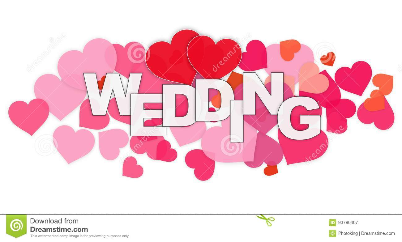 Wedding Word and Heart stock illustration  Illustration of image