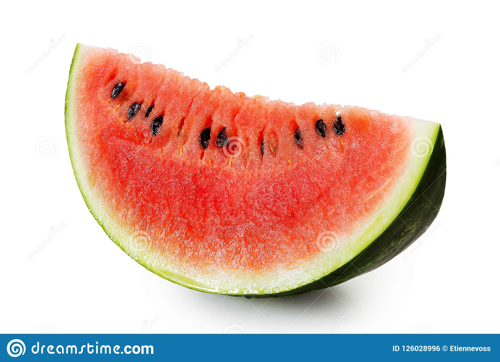 Wedge of watermelon with seeds isolated on white.