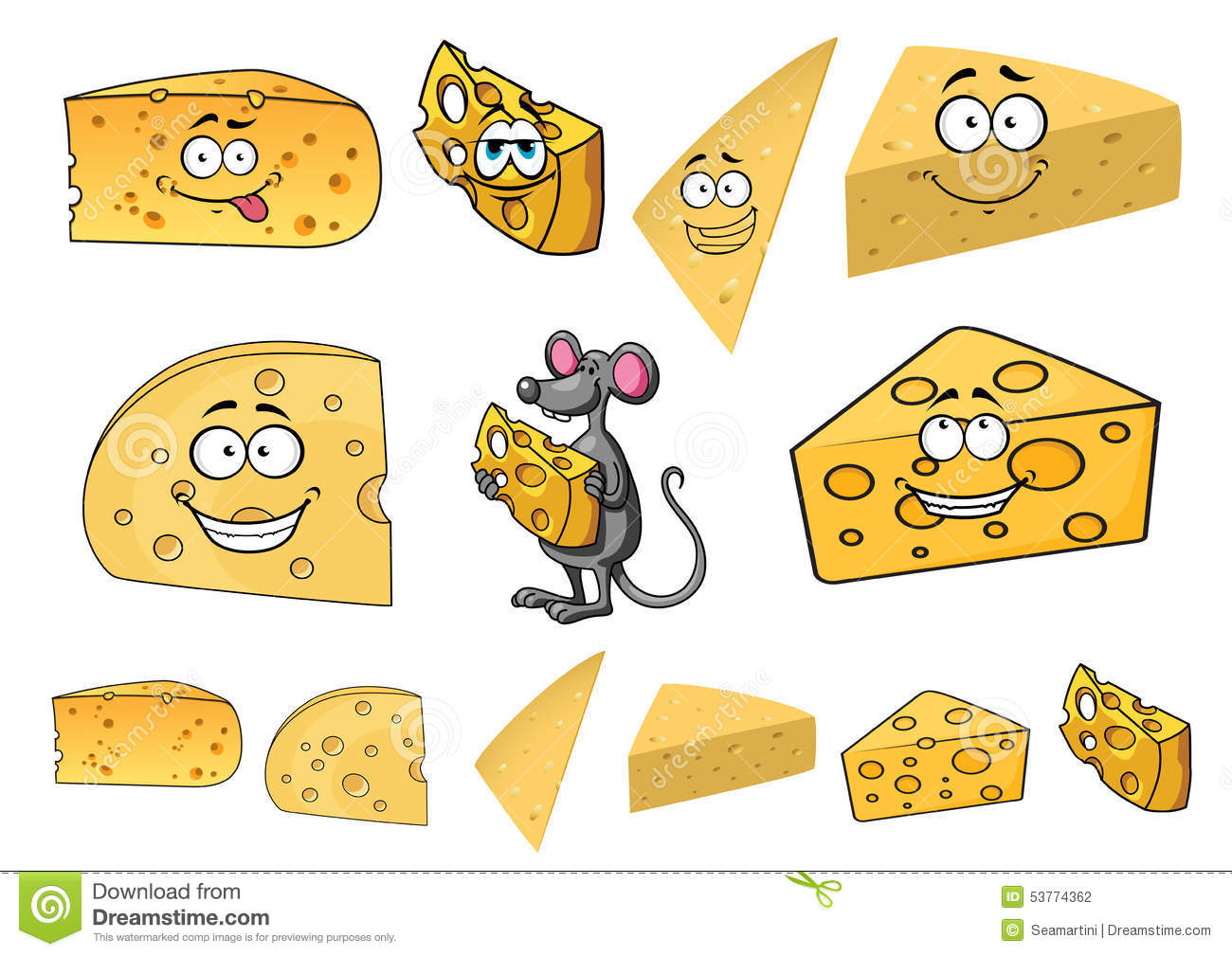 Wedges Of Happy Cartoon Cheese With A Mouse Stock Vector ...