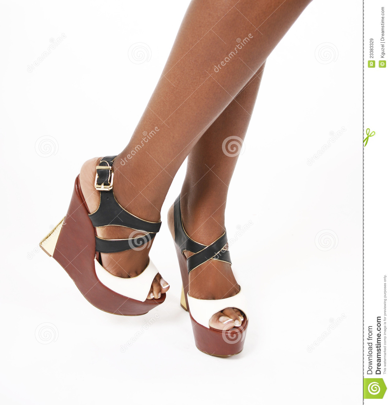 Wedges Shoes On Legs Royalty Free Stock Images Image
