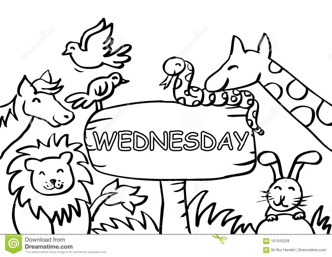 Wednesday Coloring Page With Animals Stock Illustration ...