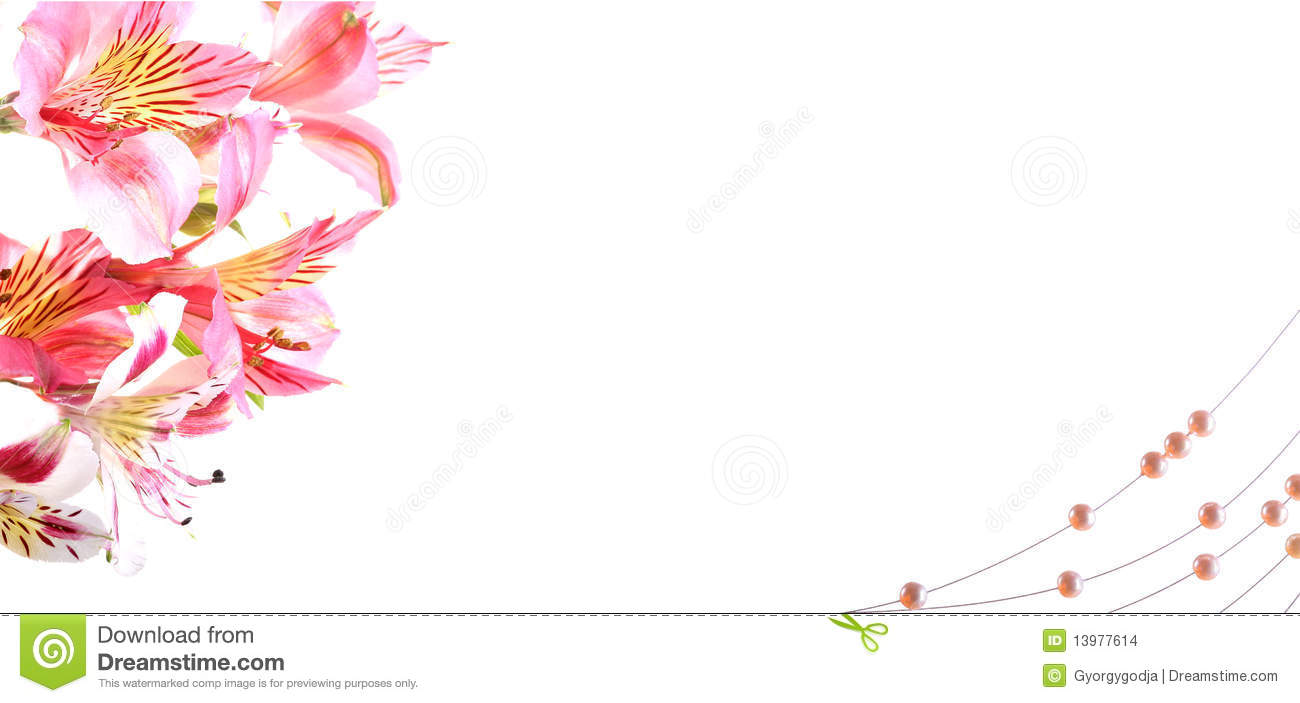 Weeding invitation card vith pink flowers and necklace.