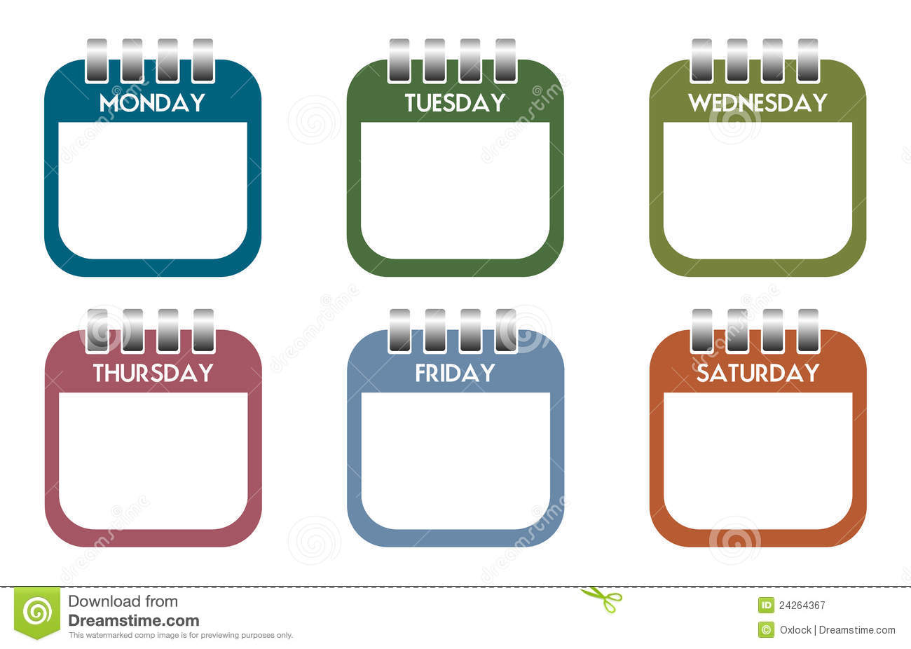 Set of six colorful calendar sheets with the days of the week written ...