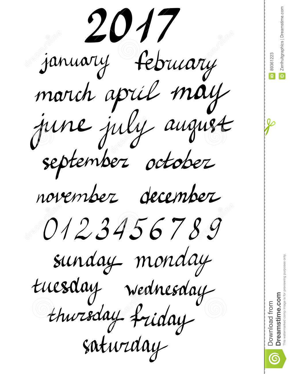 Week Days And Months Names Lettering Hand Written Calligraphy Stock