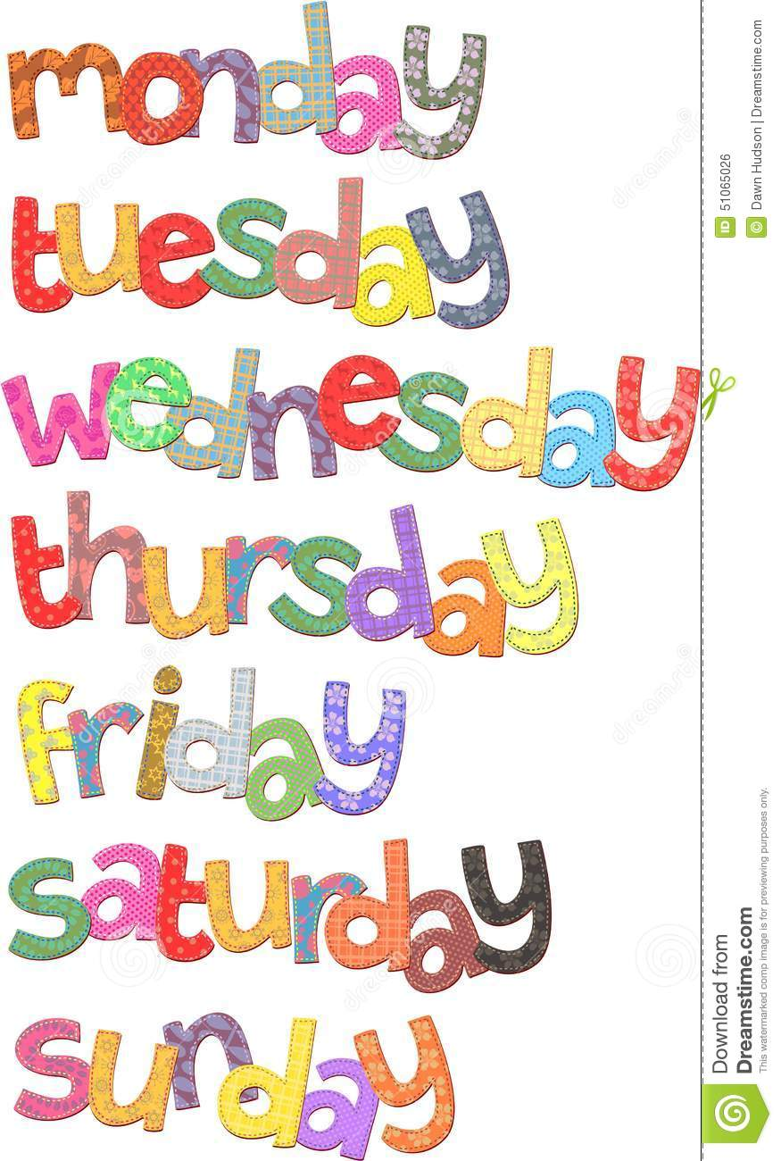 Days of the week text clip art resembling fabric with stitching.