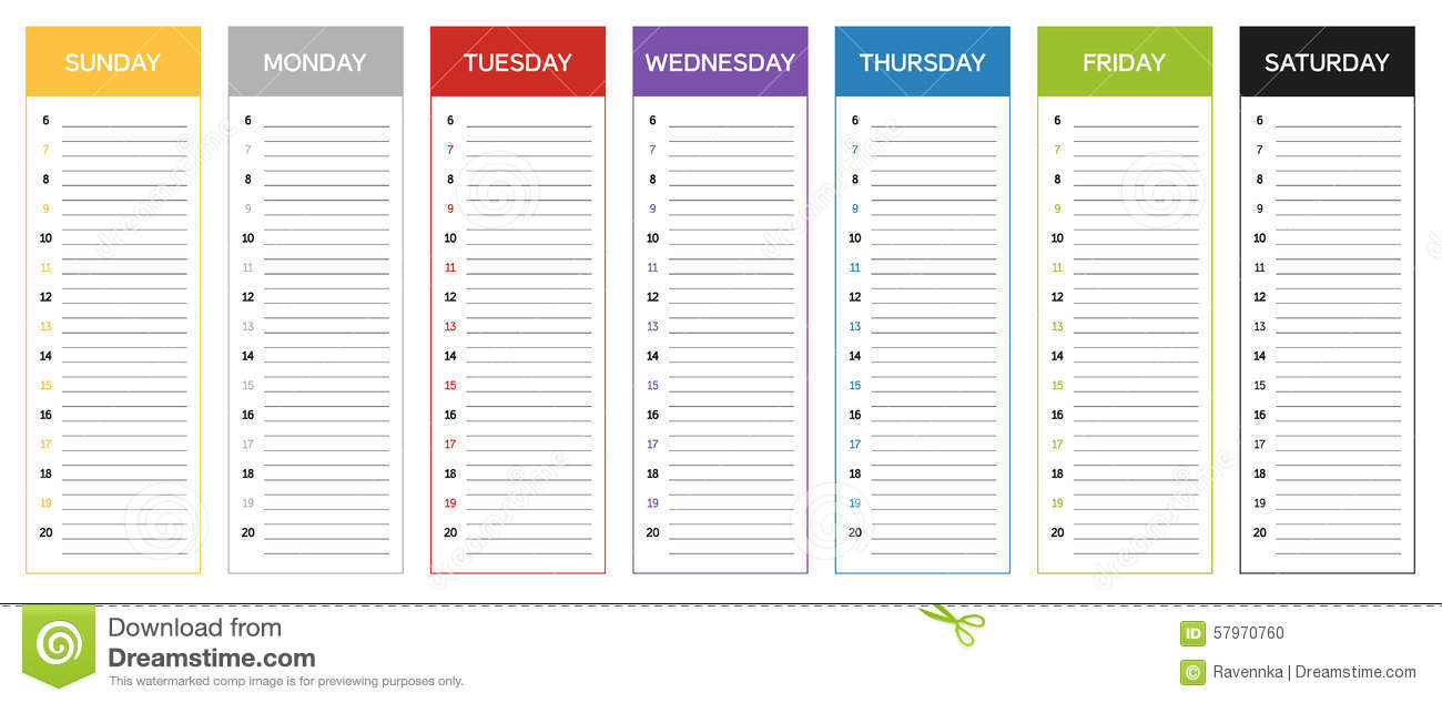 sunday through saturday calendar template - week planning calendar in colors of the day stock vector
