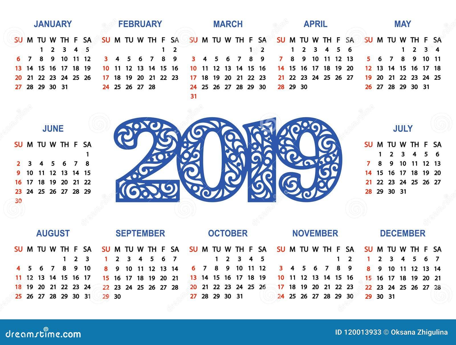 Calendario Vector Blanco.Calendar 2019 On A White Background Stock Illustration