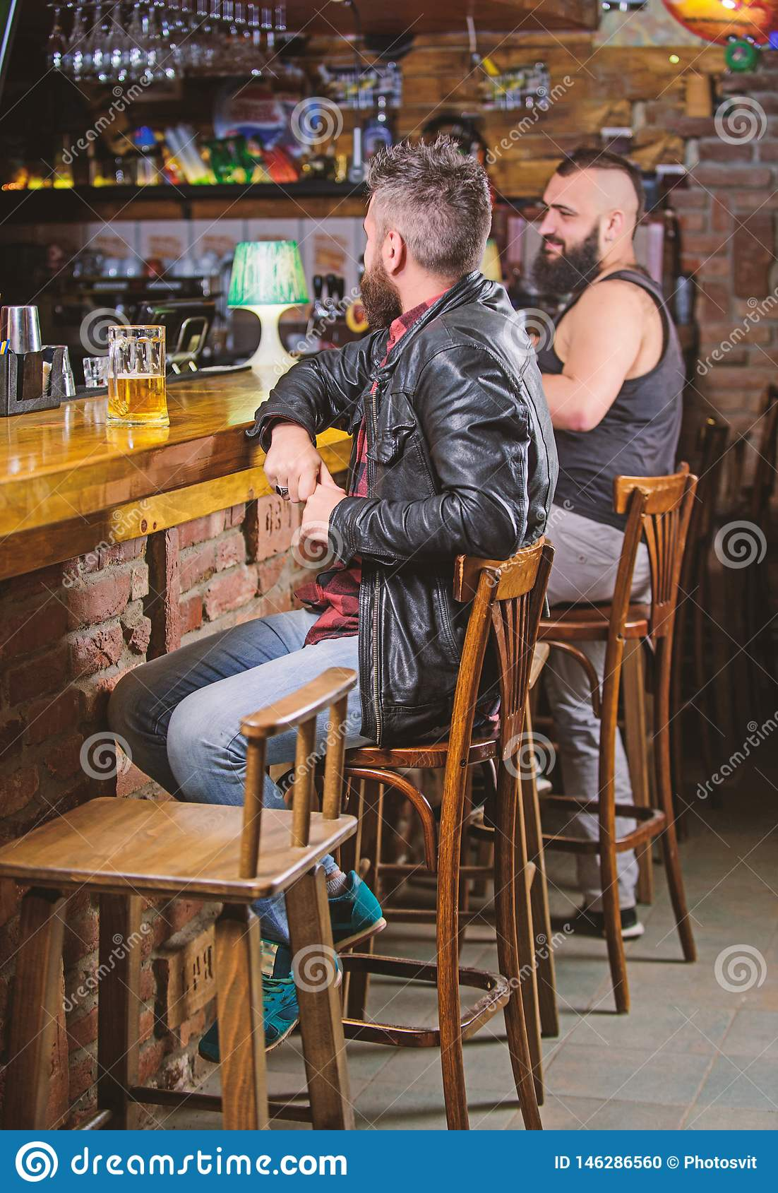 Peachy Weekend Lifestyle Guy Bearded Man Sit At Bar Counter In Pub Pub Natural Hairstyles Runnerswayorg