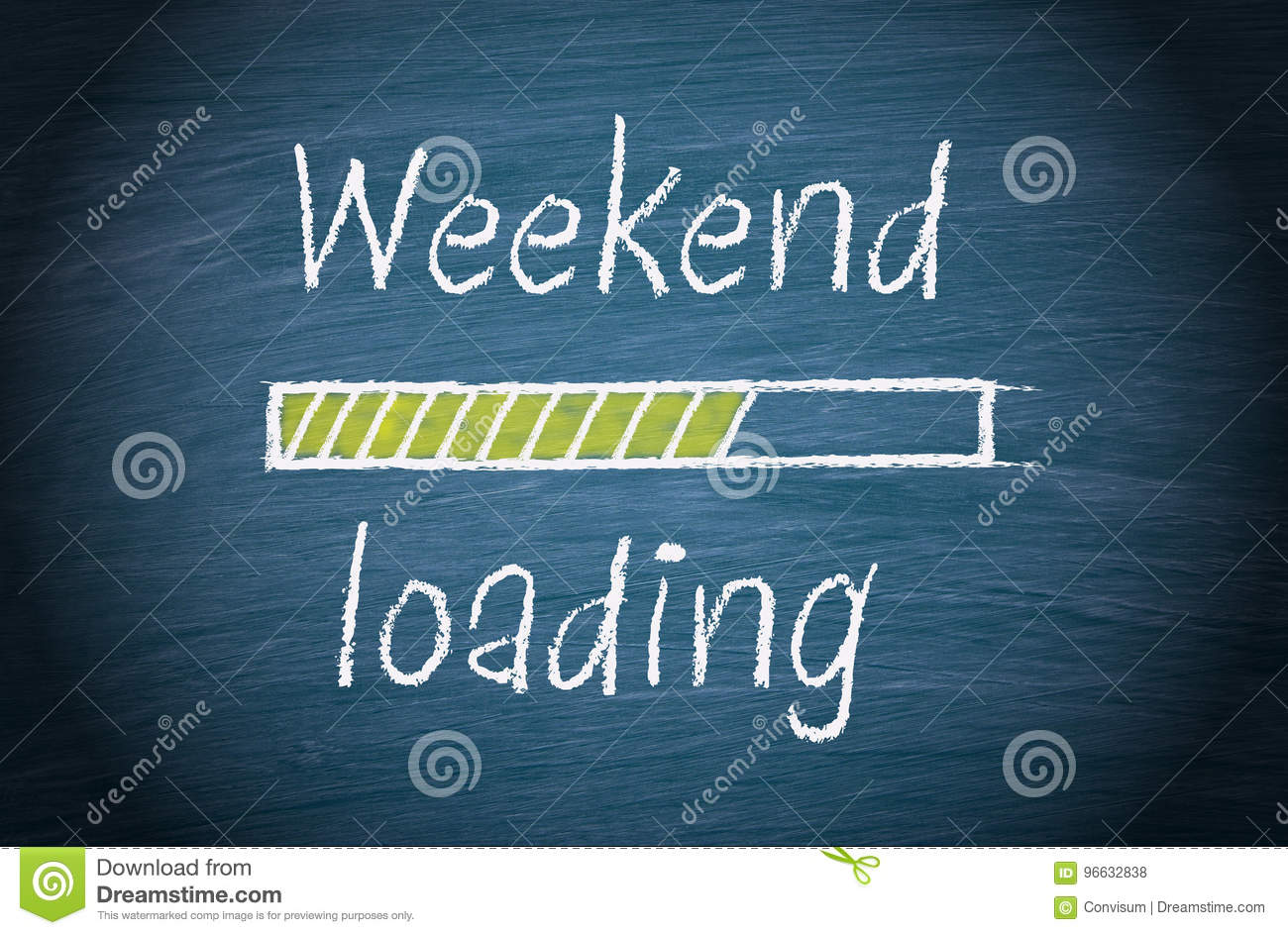 weekend loading blue chalkboard with text stock photo image of