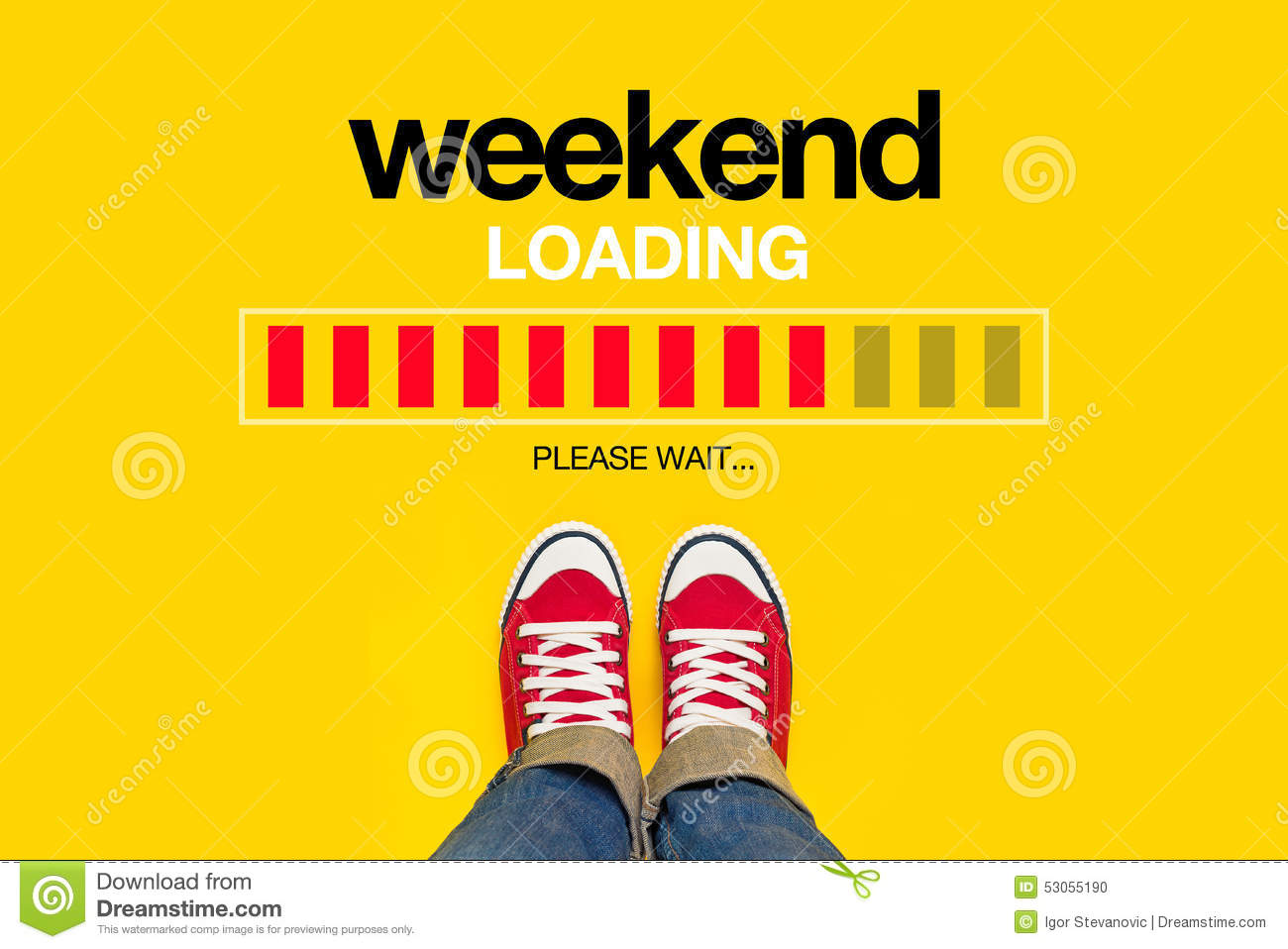 Weekend Loading Content with Young Person Wearing Red Sneakers from ...