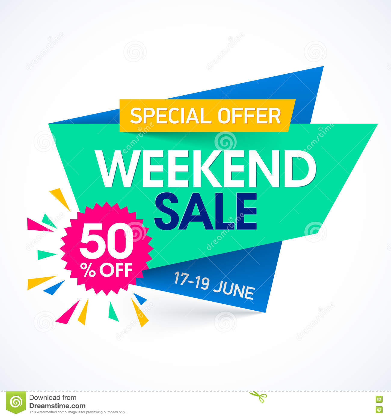 Weekend Sale Banner: Weekend Super Sale Special Offer Banner Stock Vector