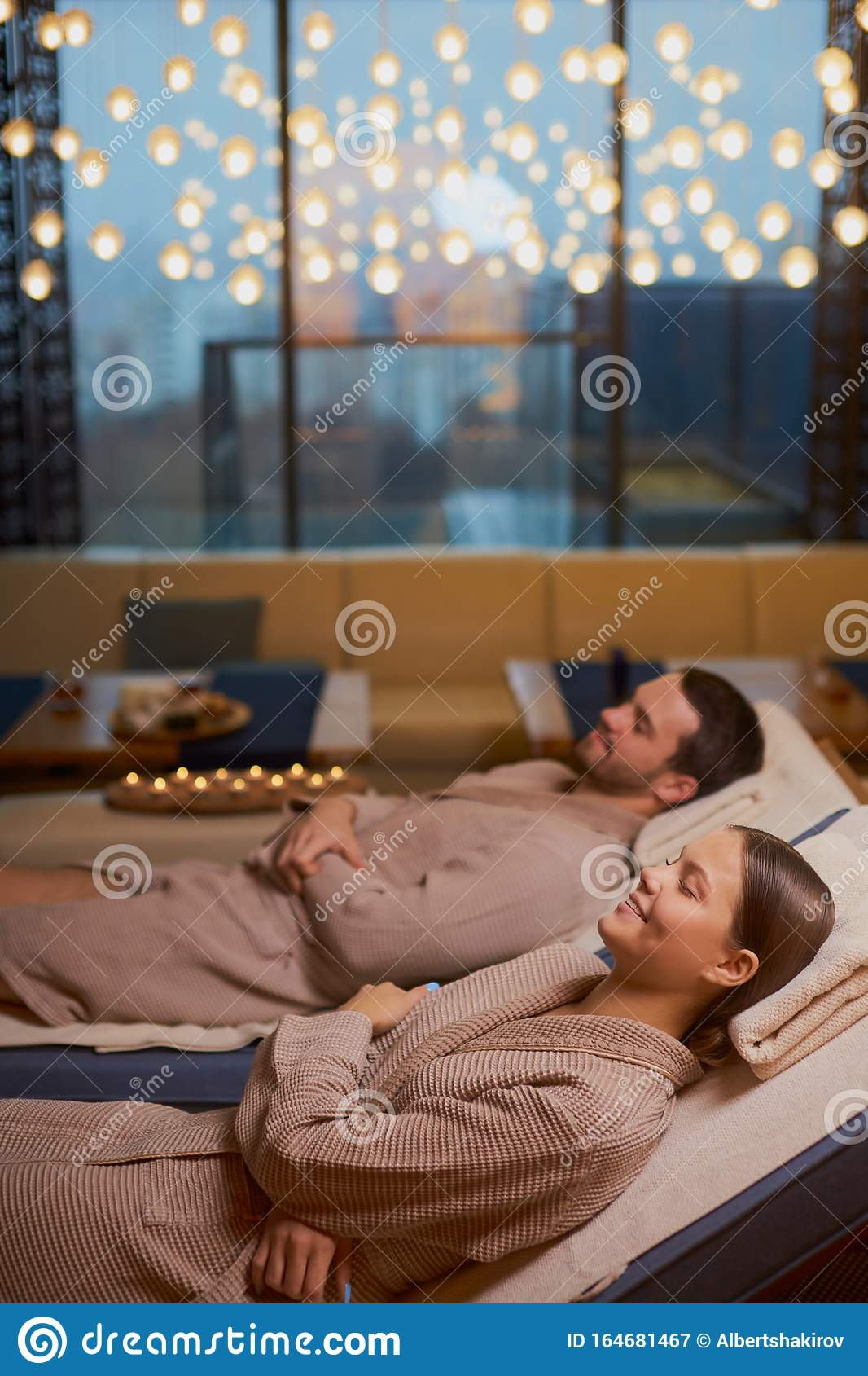 Young Couple Relaxing Together At Day Spa Stock Image ...