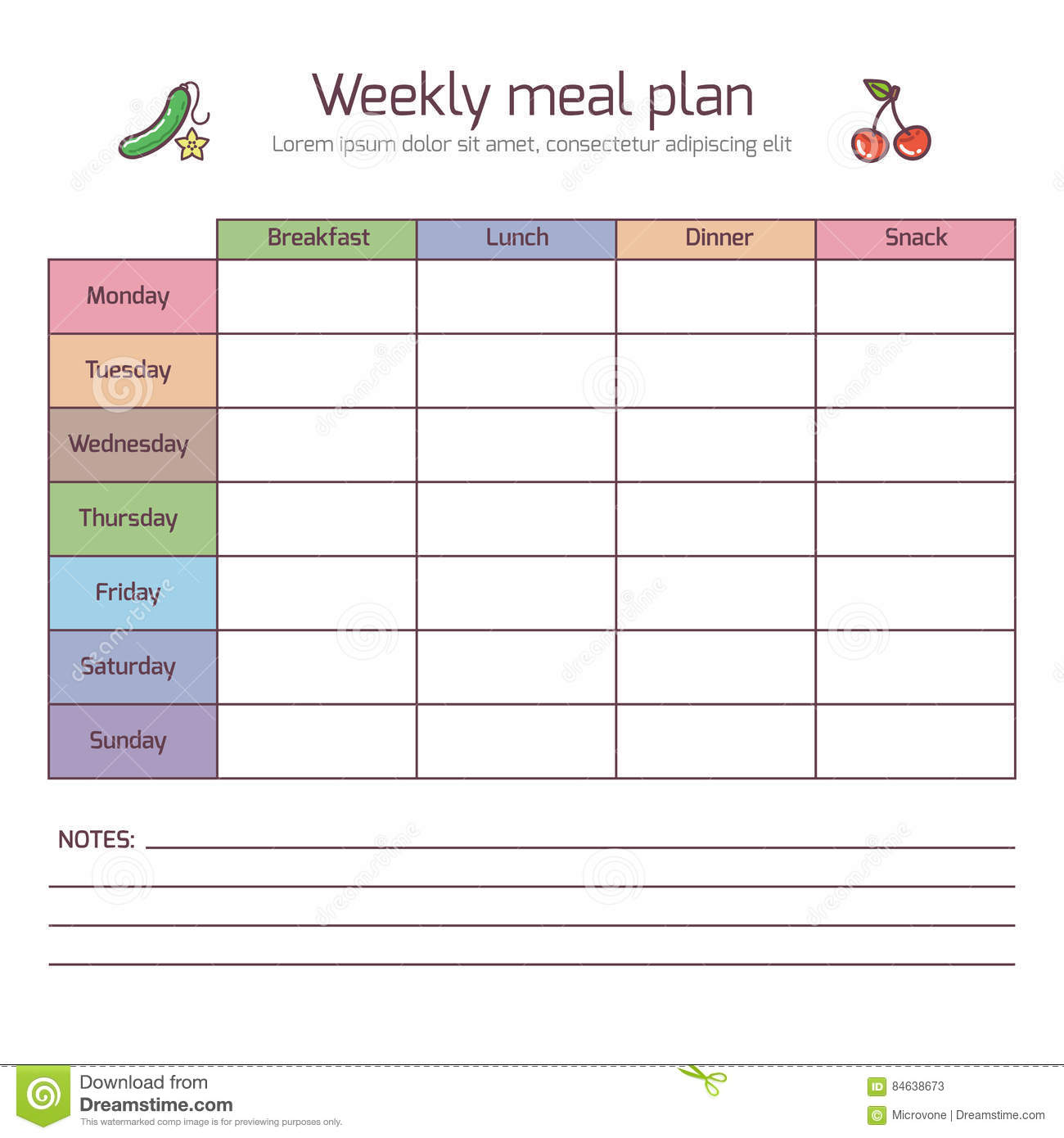 Weekly meal plan mealtime vector diary cartoon vector for Planner casa