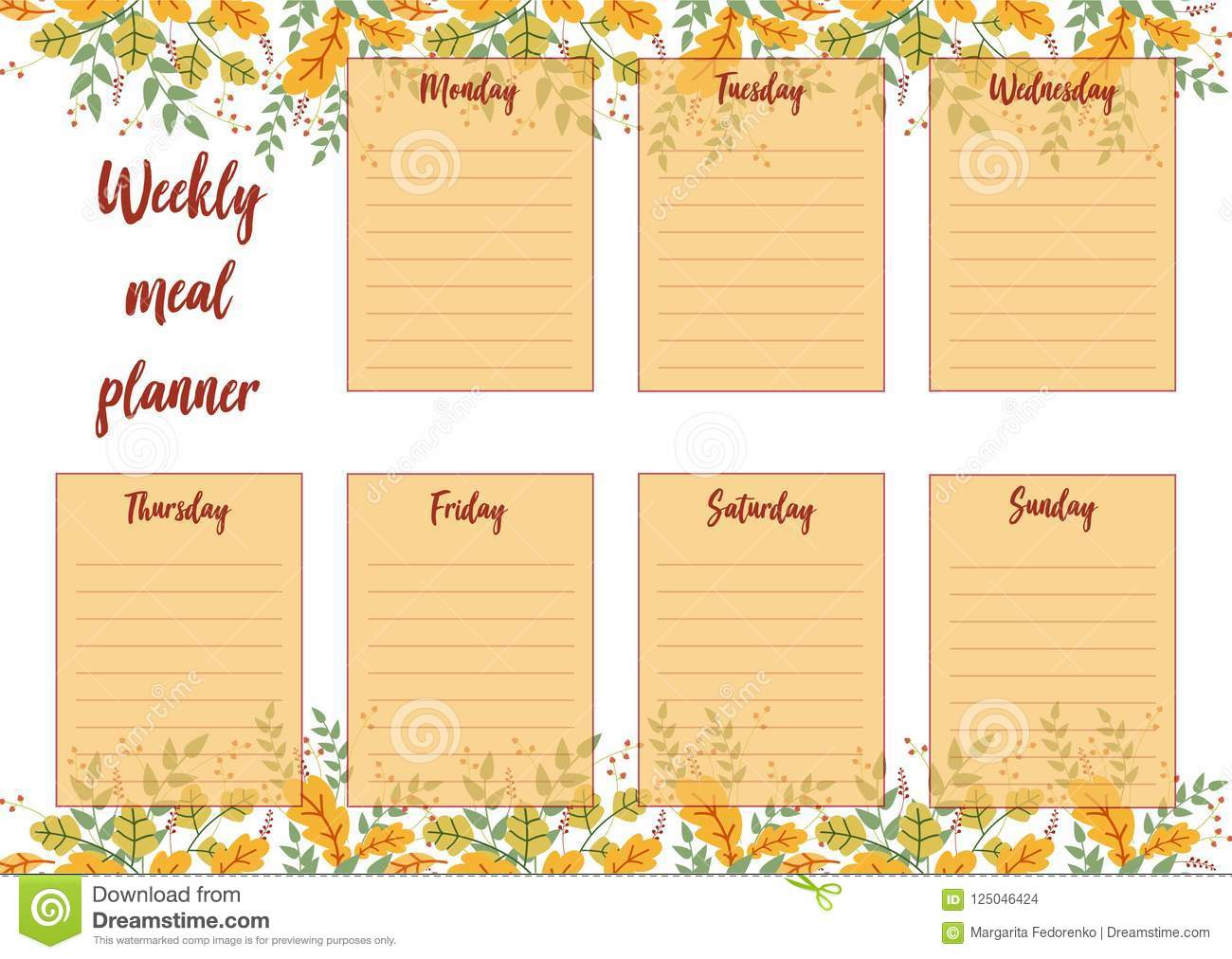 Daily Meal Planner Template from thumbs.dreamstime.com