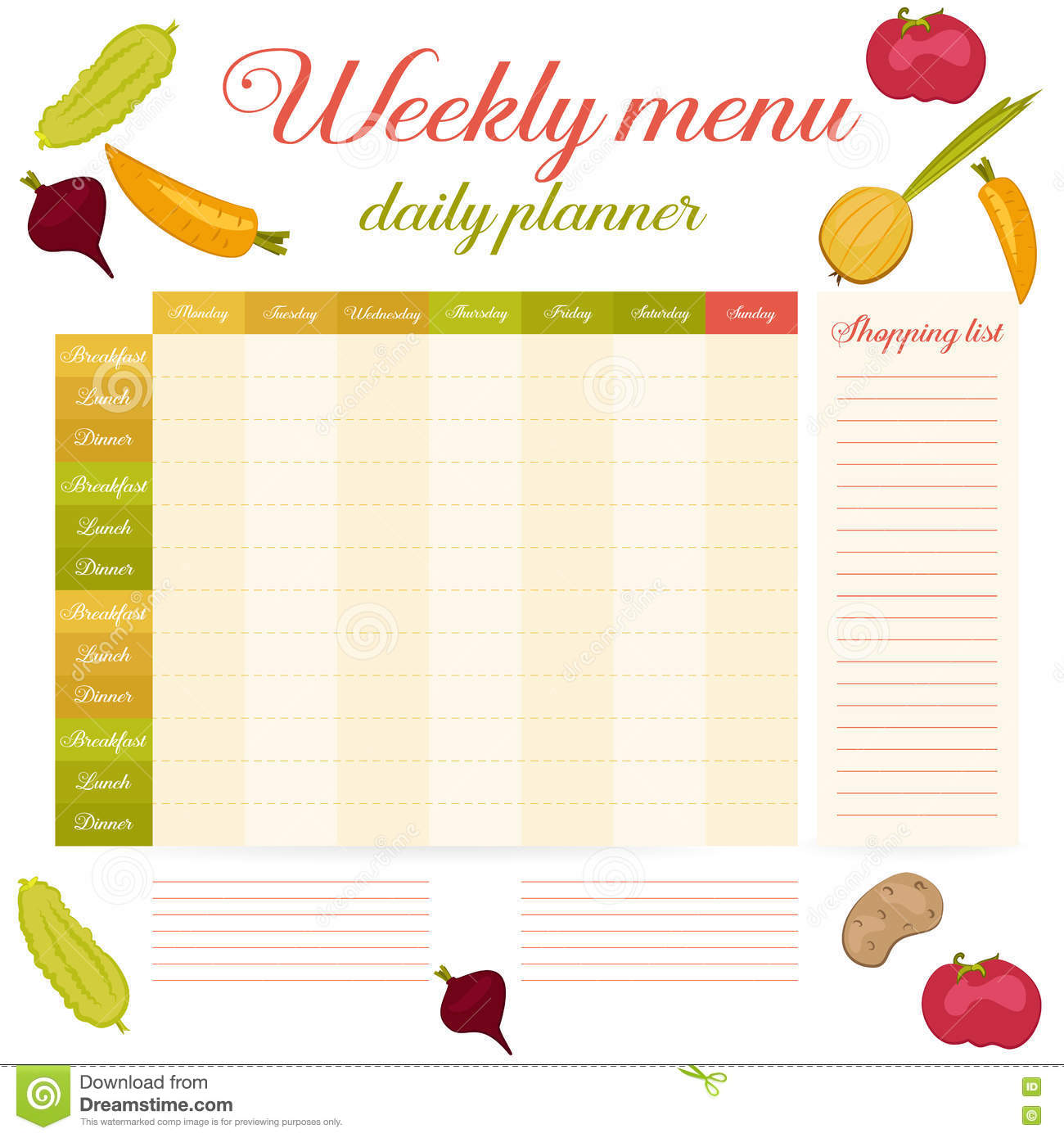 Cute Calendar Daily And Weekly Planner Stock Vector - Image: 76601311
