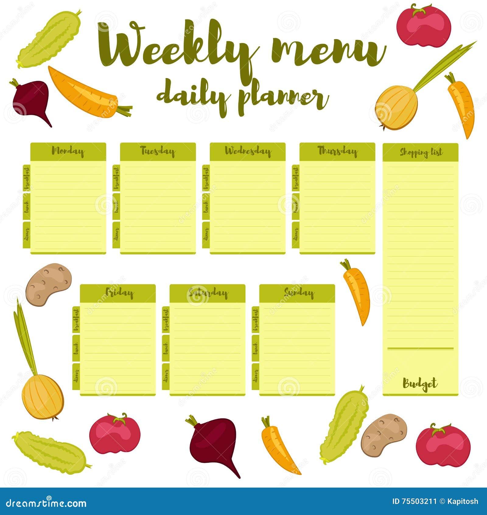 Weekly Meal Plan, Mealtime Vector Diary Cartoon Vector ...