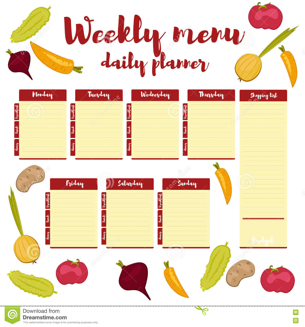 weekly menu daily red planner stock vector illustration of lunch