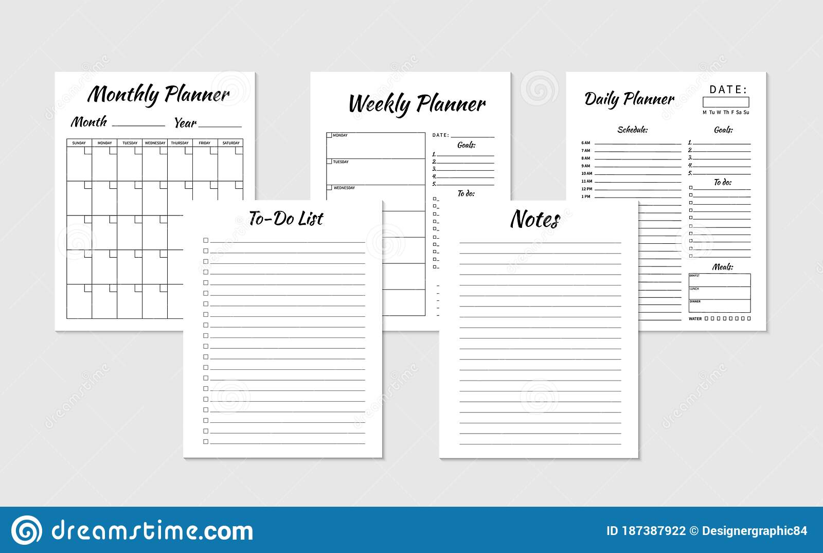 Daily, Weekly, Monthly Planner, To do List, Notes Template. Set of ...